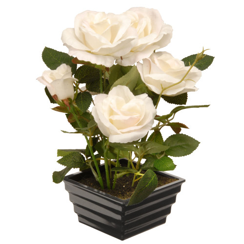 "11"" Black Potted Artificial White Rose Flowers - IMAGE 1"