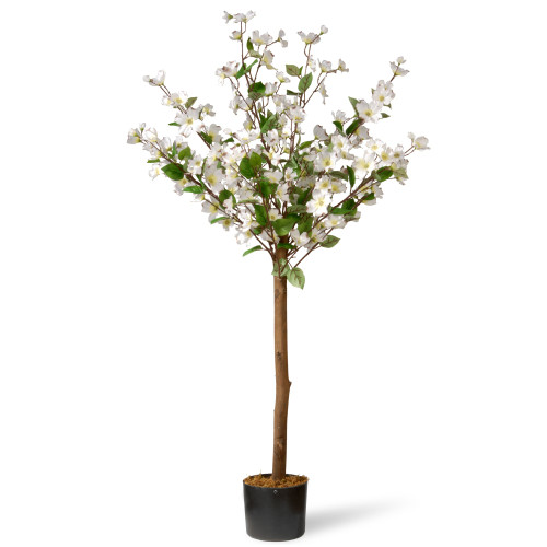 4' Potted Dogwood Artificial Tree with White Flowers - IMAGE 1