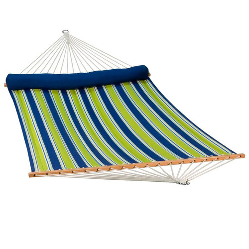 """82"""" x 55"""" Blue Aarondace Ocean Striped Reversible Quilted Hammock with Pillow - IMAGE 1"""