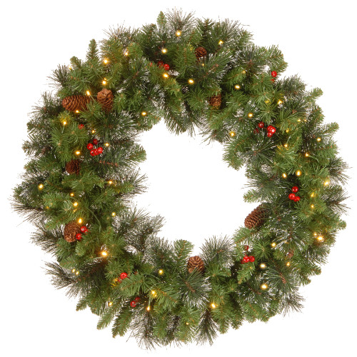Pre-Lit Crestwood Spruce Artificial Christmas Wreath - 30-Inch, Clear Lights - IMAGE 1