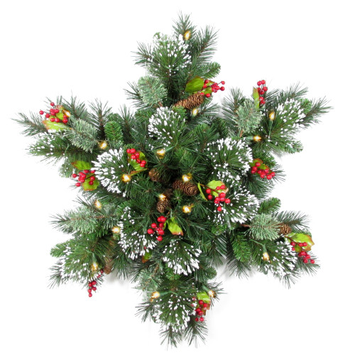 """Pre-Lit 32"""" Wintry Pine(R) Snowflake Artificial Christmas Wreath - 32-Inch, Battery Operated Warm White Clear LED Lights - IMAGE 1"""