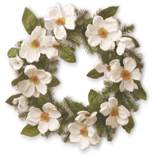 North Valley Spruce Magnolia Artificial Wreath - 24-Inch, Unlit - IMAGE 1