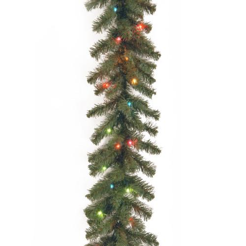 "9' x 10"" Pre-Lit Kincaid Spruce Artificial Christmas Garland - Multicolor Lights - IMAGE 1"
