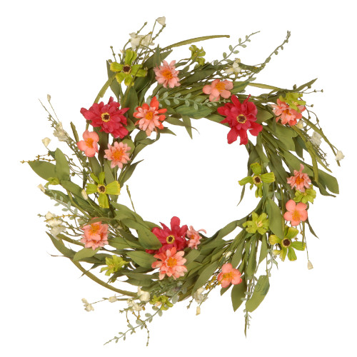 Mixed Wildflower Artificial Floral Wreath, Pink 22-Inch - IMAGE 1