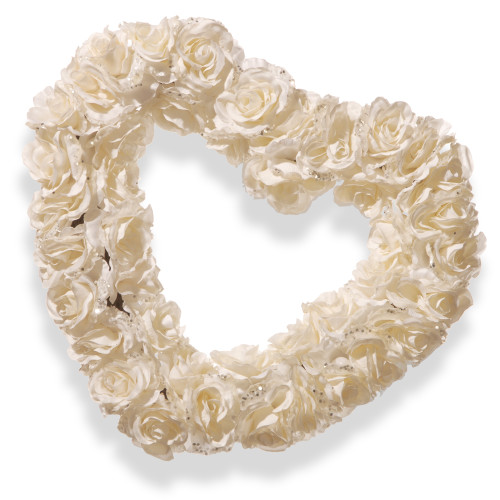 Rose Heart Artificial Floral Wreath, White 17-Inch - IMAGE 1
