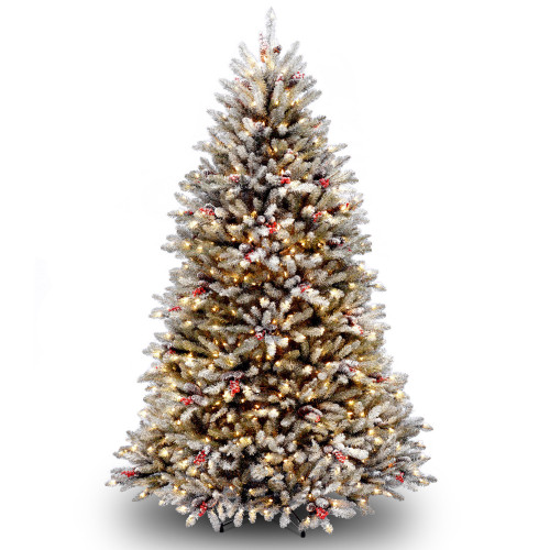 6.5' Dunhill Fir Artificial Christmas Tree with Red Berries – Clear Lights - IMAGE 1