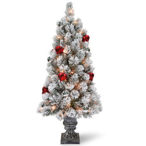 4' Pre-Lit Snowy Bristle Pine Entrance Tree with Clear Lights in Silver Pot - IMAGE 1