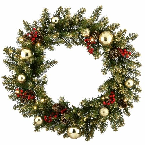 """24"""" Glittery Gold Dunhill Fir Wreath with Battery Operated LED Lights - IMAGE 1"""
