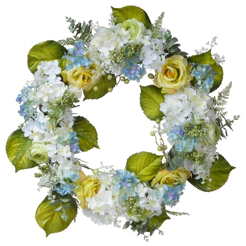 Hydrangea and Rose Artificial Floral Wreath, White 30-Inch - IMAGE 1