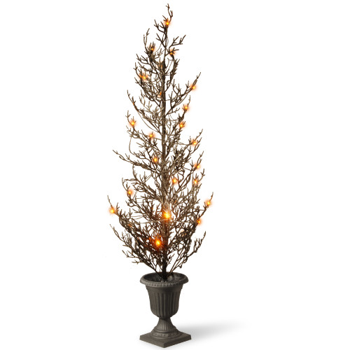 """46"""" Pre-lit Potted Black Glittered Artificial Halloween Tree – Warm White LED Lights/BO - IMAGE 1"""