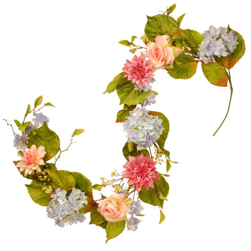 """70"""" Floral Artificial Garland with Hydrangea, Rose and Dahlia - IMAGE 1"""