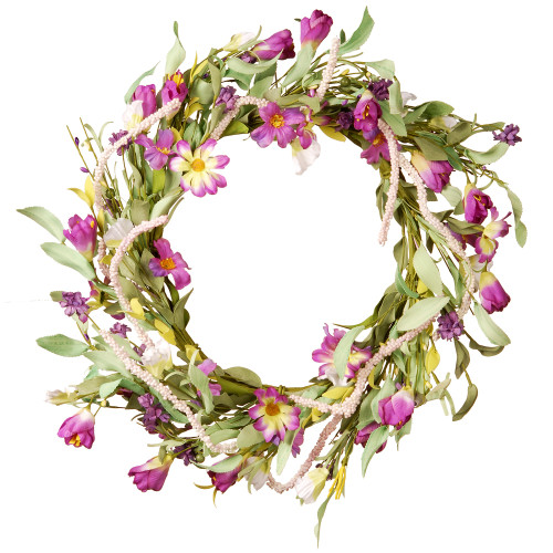Purple Mixed Artificial Floral Wreath - 20-Inch - IMAGE 1