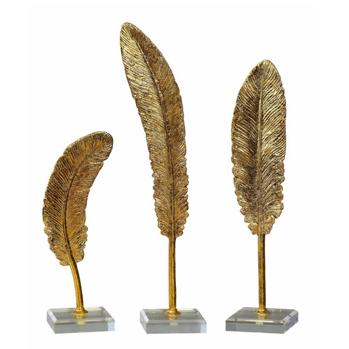 """Set of 3 Feathers Gold Sculpture 16"""" - IMAGE 1"""