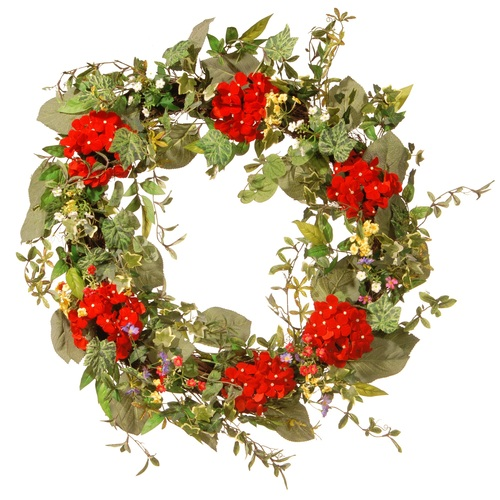 Mixed Ivy Artificial Floral Wreath, Red 32-Inch - IMAGE 1