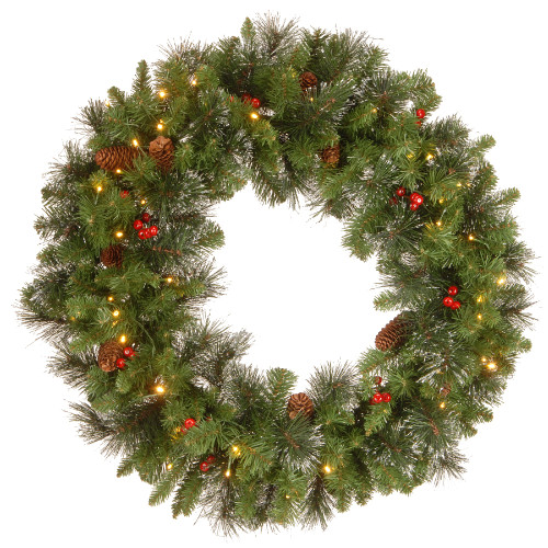 "30"" Pre-Lit BO Crestwood Spruce Artificial Christmas Wreath - Warm White LED Lights - IMAGE 1"