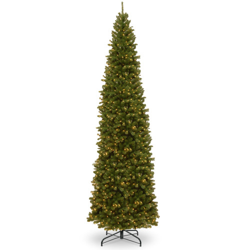 12' Pre-lit North Valley Spruce Pencil Artificial Christmas Tree – Clear Lights - IMAGE 1