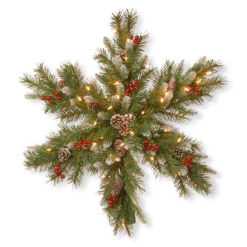 """32"""" Pre-lit Frosted Berry Snowflake Artificial Christmas Teardrop Swag - LED Lights - IMAGE 1"""