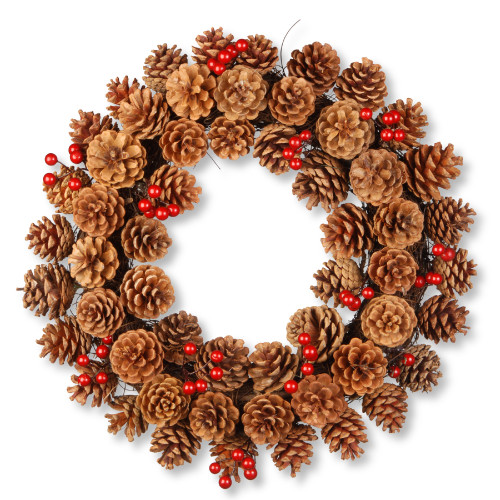 Pinecone Artificial Wreath - 20-Inch, Unlit - IMAGE 1