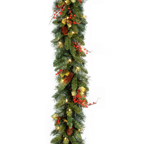 """9' x 10"""" Pre-Lit Classical Collection Artificial Christmas Garland – Clear Lights - IMAGE 1"""