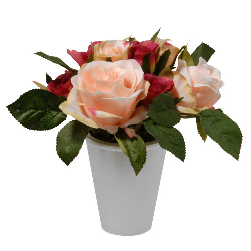 """7.5"""" Potted Light and Dark Pink Rose Flowers - IMAGE 1"""