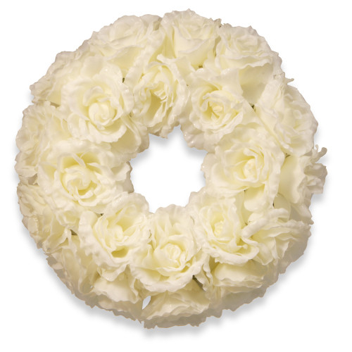 Glittered Rose Artificial Floral Wreath, White 16.5-Inch - IMAGE 1