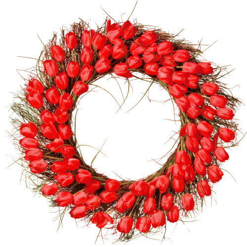 Tulip Artificial Floral Wreath, Red and Brown 32-Inch - IMAGE 1