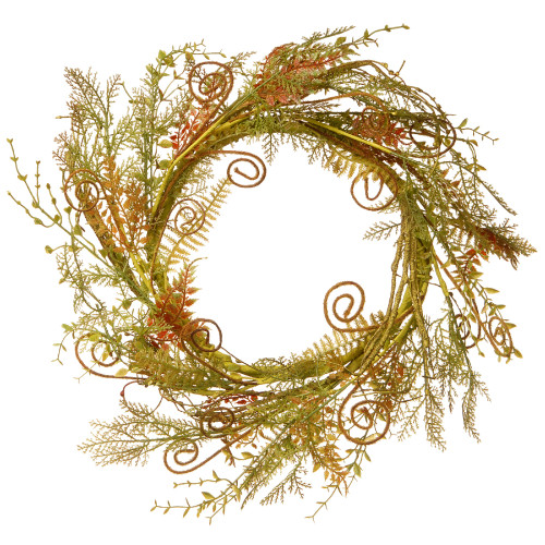 Artificial Fern Wreath, Green and Brown 22-Inch - IMAGE 1