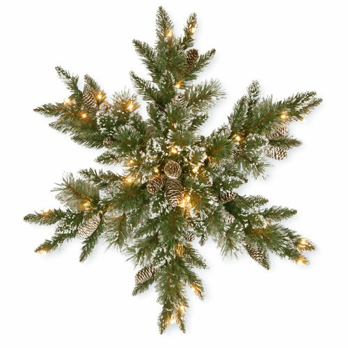 """32"""" Pre-Lit Glittery Bristle Pine Snowflake - LED Lights Battery Operated - IMAGE 1"""