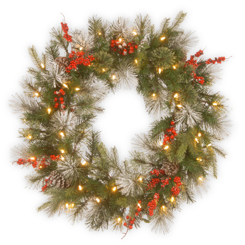 Pre-Lit Wintry Berry Artificial Christmas Wreath - 30-Inch, LED Lights - IMAGE 1