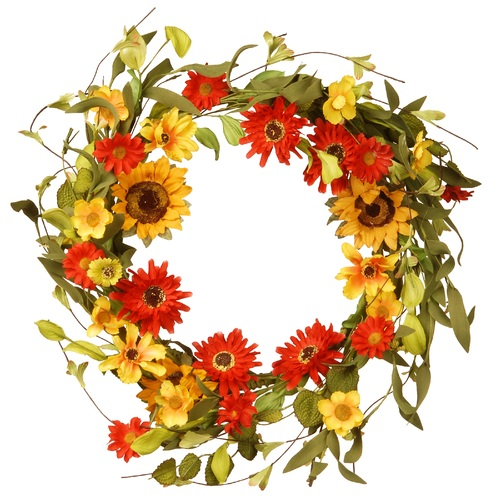 Floral Artificial Wreath with Sunflower and Orange/Yellow Mixed Flowers - 20-Inch - IMAGE 1