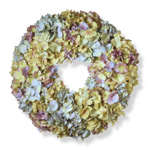 Mixed Hydrangea Artificial Floral Wreath, Multicolor 18-Inch - IMAGE 1