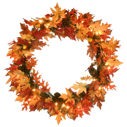 """36"""" Maple Wreath with Clear Lights - IMAGE 1"""