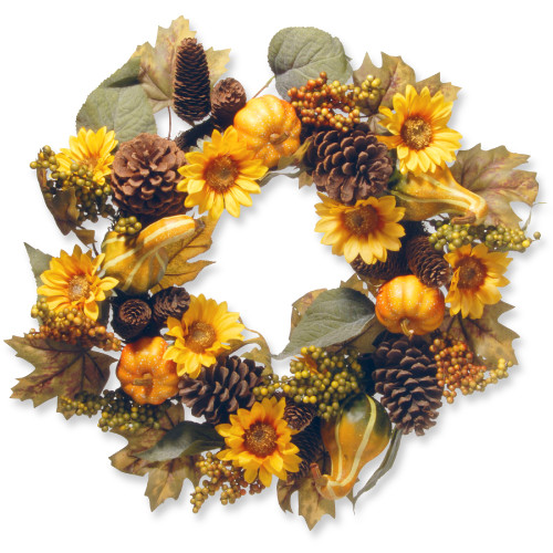 Pumpkins and Sunflowers Artificial Floral Wreath, Yellow 22-Inch - IMAGE 1