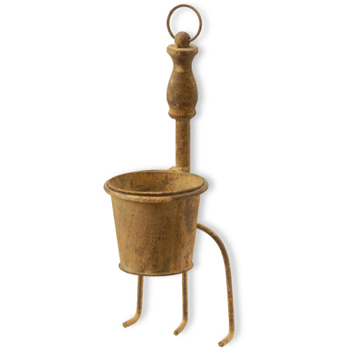 """15"""" Garden Accents Weathered Fork and Flower Pot Planter Decoration - IMAGE 1"""