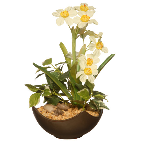 """9"""" White Narcissus Artificial Plant with Brown Bowl Planter - IMAGE 1"""
