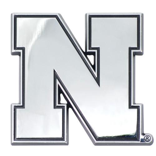 "Set of 2 White NCAA University of Nebraska Blackshirts Cornhuskers Stick-On Car Decals 2.5"" x 3"" - IMAGE 1"
