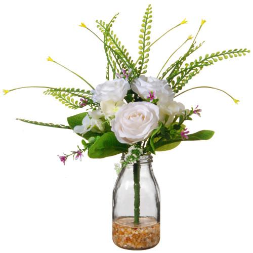 "12"" Artificial White Rose Flower Arrangement in Glass Vase - IMAGE 1"