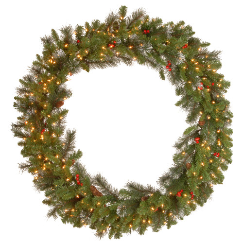 Pre-Lit Crestwood Spruce Artificial Christmas Wreath - 48-Inch, Clear Lights - IMAGE 1