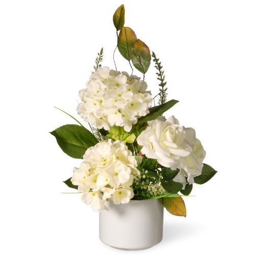 """9"""" Potted Artificial White Hydrangea Flowers - IMAGE 1"""