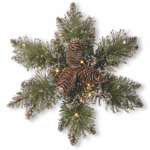 """14"""" Pre-Lit Pine Snowflake Battery Operated Artificial Wreath - Warm White LED Lights - IMAGE 1"""