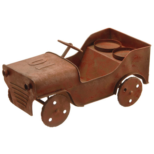 """14"""" Metal Car Lawn Ornament and Candleholder - IMAGE 1"""