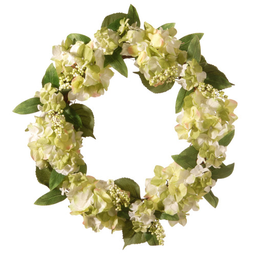 Hydrangea Flower and Berries Garden Accents Artificial Wreath - 24-Inch - IMAGE 1