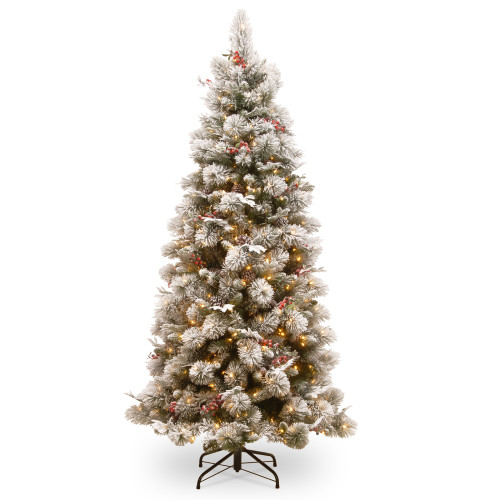 7.5 ft. Pre-Lit Snowy Bedford Slim Pine Artificial Christmas Tree with Clear Lights - IMAGE 1