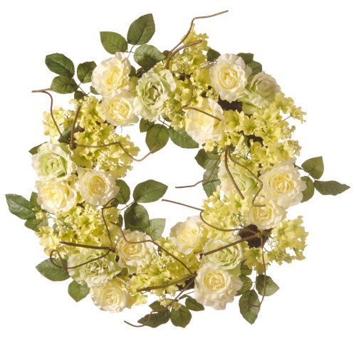 Green and Cream Rose Wreath - 24-Inch, Unlit - IMAGE 1