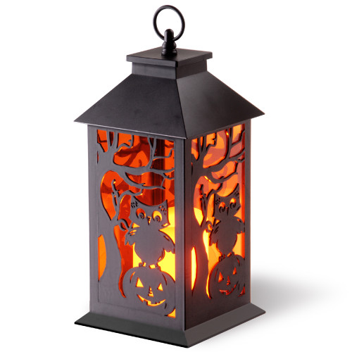 "12"" LED Owl and Pumpkin Lantern - IMAGE 1"