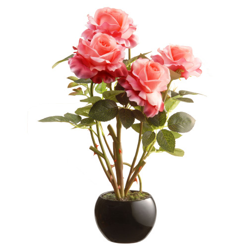 """16.5"""" Black Round Potted Artificial Pink Rose Flowers - IMAGE 1"""