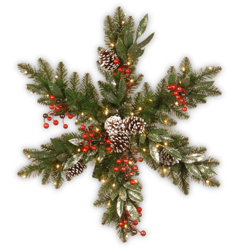 """32"""" Frosted Pine Berry Eucalyptus Snowflake Battery Operated LED Lights Wreath - IMAGE 1"""