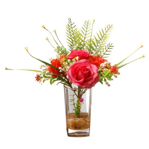 "12"" Artificial Red Rose Flower Arrangement in Glass Vase - IMAGE 1"