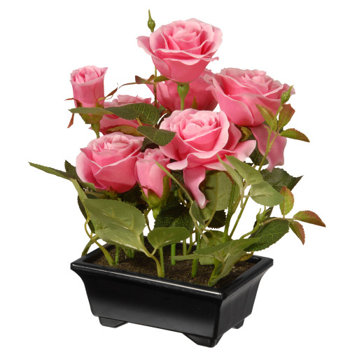 "10"" Black Potted Artificial Pink Rose Flowers - IMAGE 1"