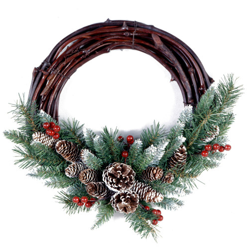"16"" Unlit Frosted Grapevine Artificial Christmas Wreath - IMAGE 1"